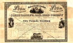 South Carolina Railroad Company 50 Pound Bond -Charleston, South Carolina 1866