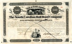 South Carolina Railroad Company �0 Bond - South Carolina 1868