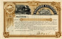 Southern California Railway Company signed by George C. Magoun - California 1889