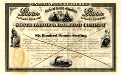 South Carolina Rail Road Company �0 Bond - South Carolina 1866