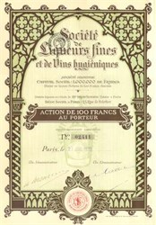 Society of Fine Liqueurs of Hygienic Wines 1922 - French