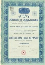 Societe des Mines de Malabau 1916