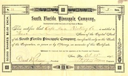 South Florida Pineapple Company - 1898