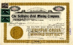 Solitaire Gold Mining Company - Teller. Cripple Creek District, Colorado - 1900