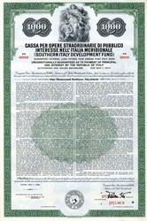 Southern Italy  Development Fund (Cassa pe' Opere Straordinarie di Pubblico Interesse Nell'Itaia Meridionale) - 1959