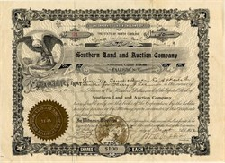 Southern Land and Auction Company signed by President of North Carolina State University - Raleigh, North Carolina 1912