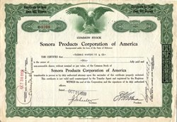 Sonora Products Corporation of America issued on October 29, 1929 Stock Market Crash - Black Tuesday