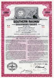 Southern Railway Equiptment Trust $1000 Bond - 1972