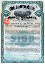 South Gila Canal Company 1892 - Yuma, Arizona - Gold Bond