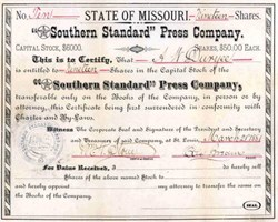 Southern Standard Press Company 1881 - St, Louis, Missouri