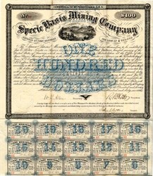 Specie Basis Mining Company - Gold,  Silver and Copper Mines in Arizona 1866
