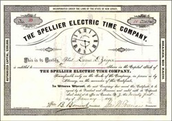 Spellier Electric Time Company  - Early Electric Clock Company -  1889