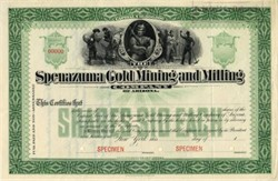 Spenazuma Gold Mining and Milling (Scam)  - RARE SPECIMEN - New York