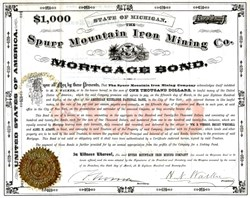 Spurr Mountain Iron Mining Co. - Michigan 1875