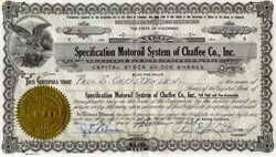 Specification Motoroil System of Chaffee County, Inc. - Colorado 1931