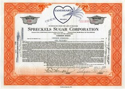 Spreckels Sugar Corporation issued to Rudolf Spreckels - 1929