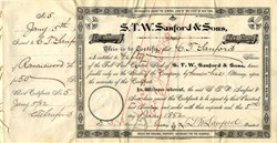 S.T.W. Sanford & Sons, (Made Dr. Sanford's Liver Invigorator)  signed by Dr. Samuel T. W. Sanford  - New York 1882