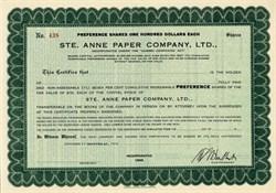 Ste. Anne Paper Company, Ltd., - Quebec, Canada