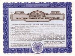 Stardust Hotel of Las Vegas, Nevada -Trustees Participation Certificate 1958