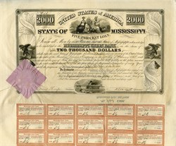 State of Mississippi $2000- Infamous Repudiated State Default Bond - 1838