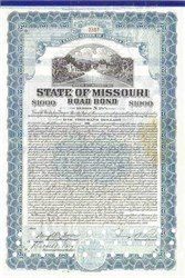 State of Missouri Road Bond signed by Governor - 1930's