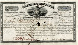 Payment of Civil War Bounties to Volunteers signed by Lucius Robinson (N.Y. Comptroller and later N.Y. Governor)  - Albany, New York 1865