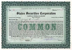 States Securities Corporation 1916 - 1918
