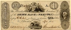 State Bank at Trenton One Dollar Obsolete Currency - New Jersey 1824