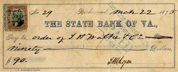 State Bank of Va ., Check  - Richmond, Virginia 1875