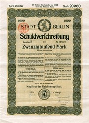 Stadt Berlin Schuldverschreibung 20000 Marks uncancelled with full set of 57 coupons - Germany 1923