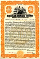 Straus Brothers Company $1000 Gold Bond - Indiana 1929