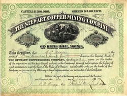 Stewart Copper Mining Company of Blue Hill - Maine 1882