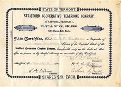 Strafford Co-Operative Telephone Company - Strafford, Vermont 1908