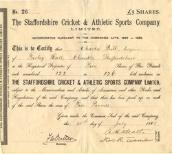 Staffordshire Cricket & Athletic Sports Company Limited - England 1885