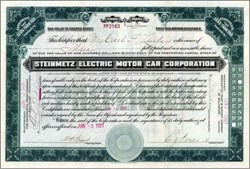 Steinmetz Electric Motor Car Corporation 1921 - Early Electric Car Company