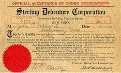 Sterling Debenture Corporation 1906 Convertible Certificate for Telepost Company
