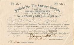 Staffordshire Fire Insurance Company - England 1871