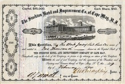 Stockton Hotel and Improvement Co. of Cape May, N.J. (Signed by Civil War General William J. Sewell ) - 1872