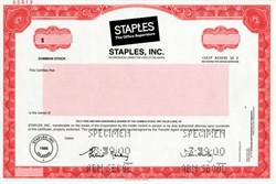 Staples, Inc. - The Office Superstore - RARE Specimen (No longer issues stock certificates) - 2000