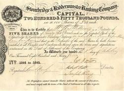 Stourbridge & Kidderminster Banking Company -  England 1834