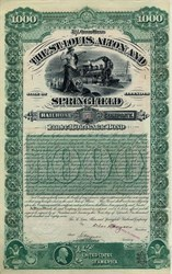 St. Louis, Alton, and Springfield Railroad Company (Liberty with Shield ) - Missouri 1887
