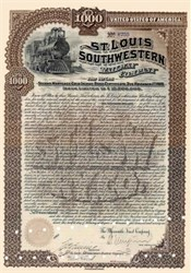 St. Louis Southwestern Railway Company 1891 signed by Edwin Gould ( Jay Gould's Son )