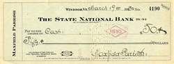 Maxfield Parrish handsigned Check issued in 1932