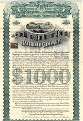 "Stockton & Tuolumne County Railroad Company (aka ""Woman's Road"") - California 1898"