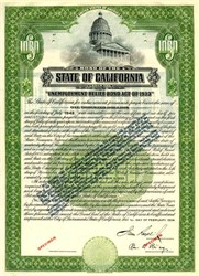 State of California Unemployment Relief Bond Act of 1933 ( Issued during Depression) - California 1934