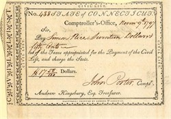 State of Connecticut Comptroller's Office signed by John Potter - 1797
