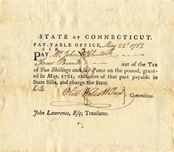 State of Connecticut Pay-Table Draft signed by Oliver Wolcott Jr.  - Connecticut 1782