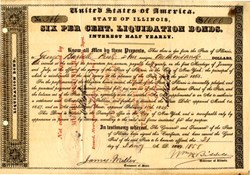 Illinois Six Per Cent Liquidation Bond signed by Governor William Harrison Bissell - 1858