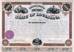 State of Louisiana Defaulted Reconstruction Bond signed by Impeached Governor Henry Clay Warmoth (Criswell 71A) - 1871