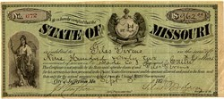 State of Missouri Note Signed by Governor  Silas Woodson - Jefferson, Missouri 1874